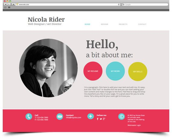 Resume Website Template free vcard portfolio psd template Resume On Website Template