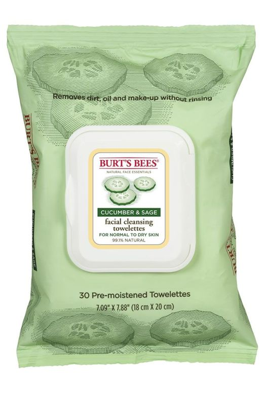 Burt's Bees Cucumber & Sage Facial Cleansing Towlettes. These are the best facial towels I have ever used. They don't break me out, and are gentle on my sensitive skin. Best towelettes that I have used. They don't remove makeup quite as well as the Neutrogena towelettes, but are better for my skin and are 99.1% natural and no parabens.