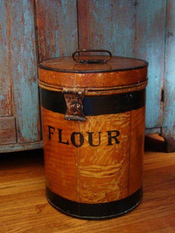 Old Farmhouse Kitchen Large Metal Flour Bin Vintage Tins