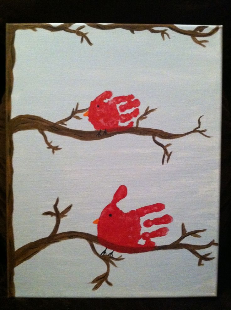 Handprint Cardinal Canvas Things I Have Made