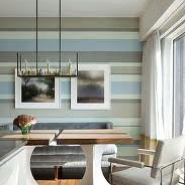 Grey Taupe And Blue Striped Wall Is Like A Piece Of Art Banquette Ideas Pinterest Striped