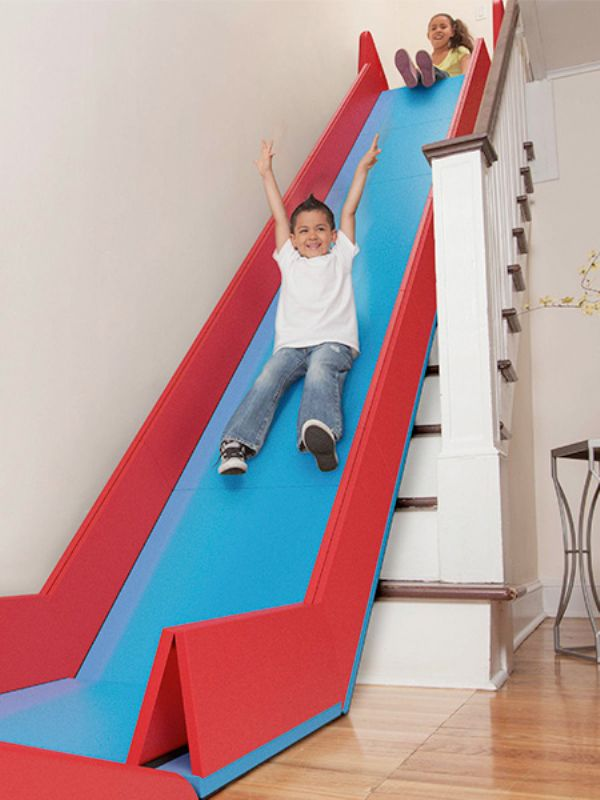 Removable Indoor Slide T Transforms Staircases Into
