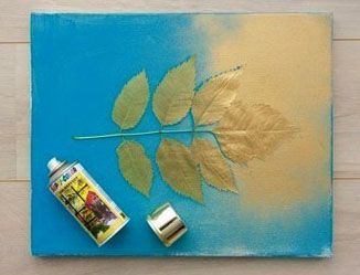 Spray paint leaves on canvas for leaf silhouette!