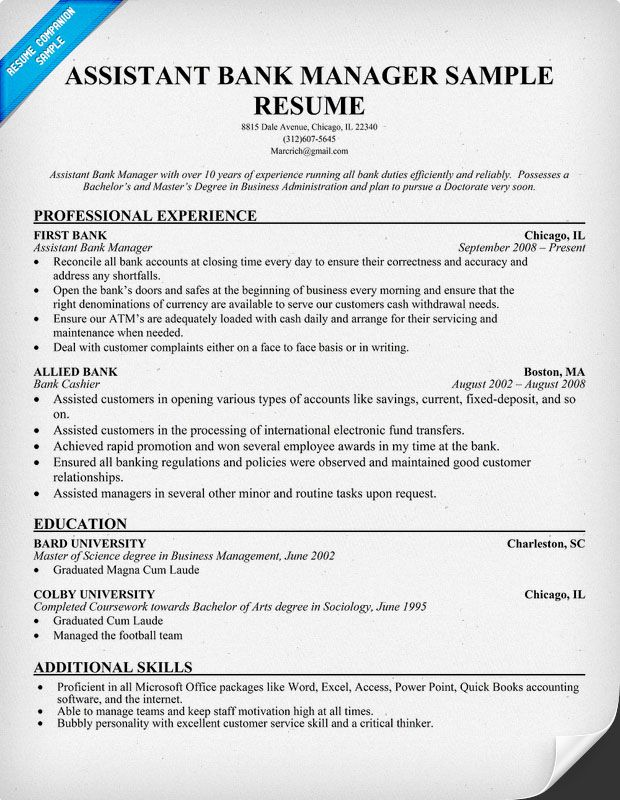 bank manager resume samples example bank manager resume free ...
