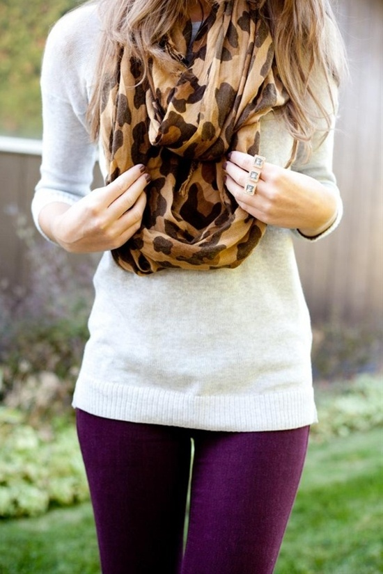 purple denim   neutral sweater   leopard print