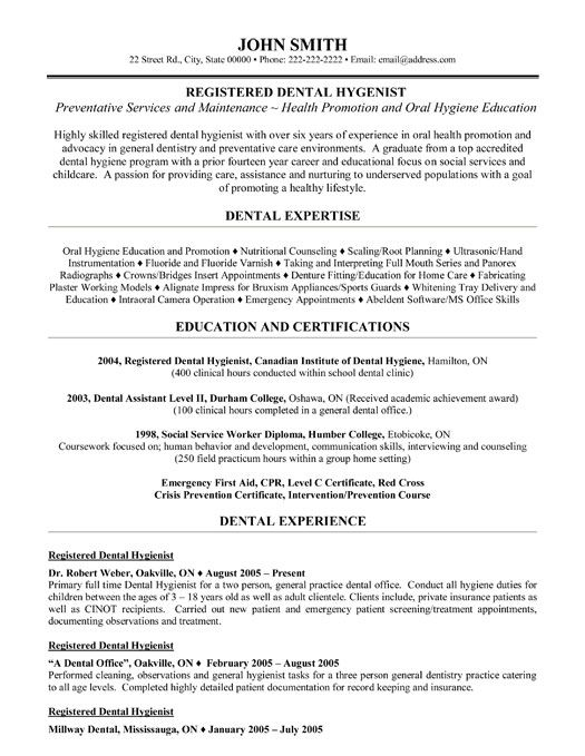 dental hygienist resume templates and resume on pinterest