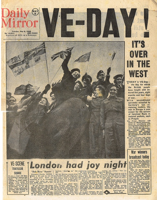 VEDay, May 1945 NEWSPAPER headlines Pinterest For