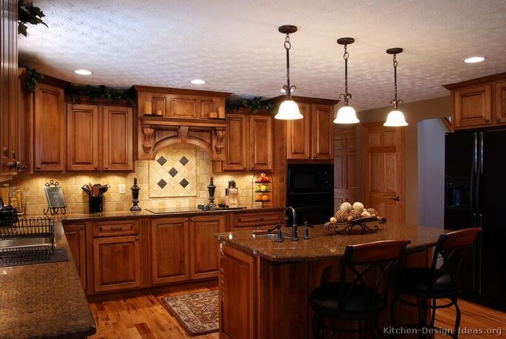 Tuscan Kitchen Design With Black Appliances Black