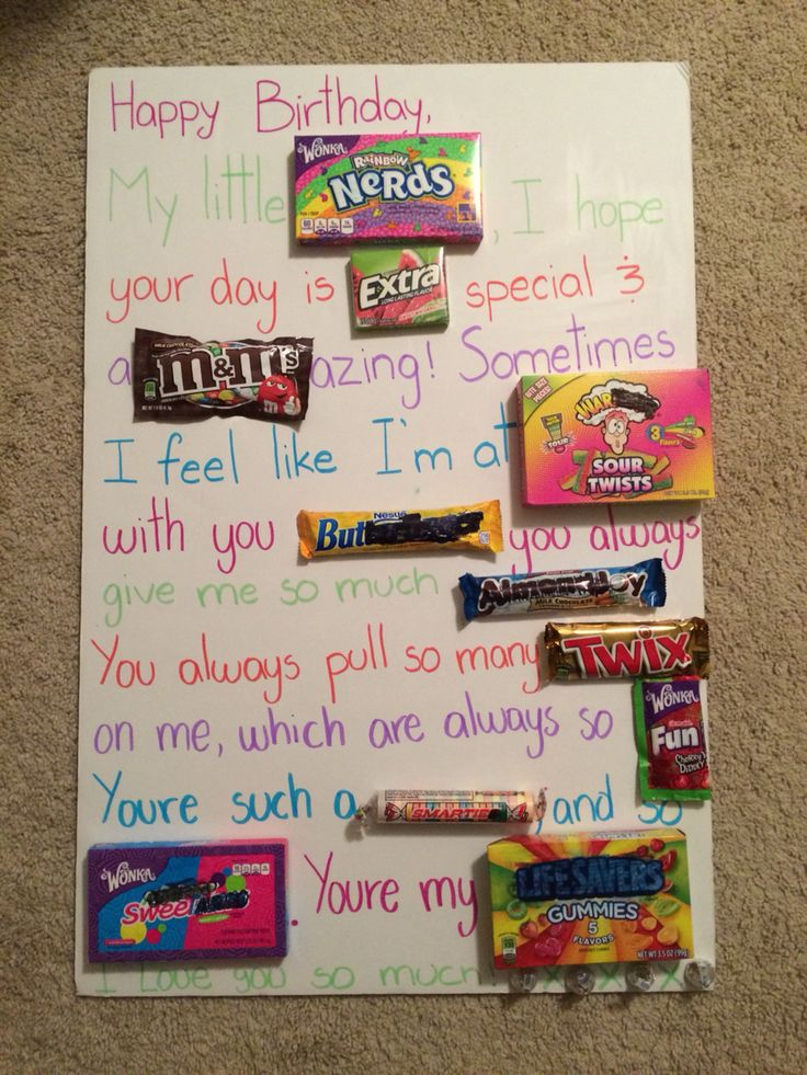 Candy poster dyi birthday sister Creatividad