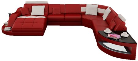 This large leather sectional sofa comfortably sits seven guests and is sure to impress with its gorgeous and unique shape. The definition of ultra modern. Available in 16