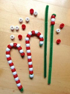 Candy Cane Ornaments    Heres an easy craft to do with children: Create pipe cleaner candy canes to hang on your Christmas tree. Fun for young children to make and give as gifts, too. The following items can be found at your local craft store.: