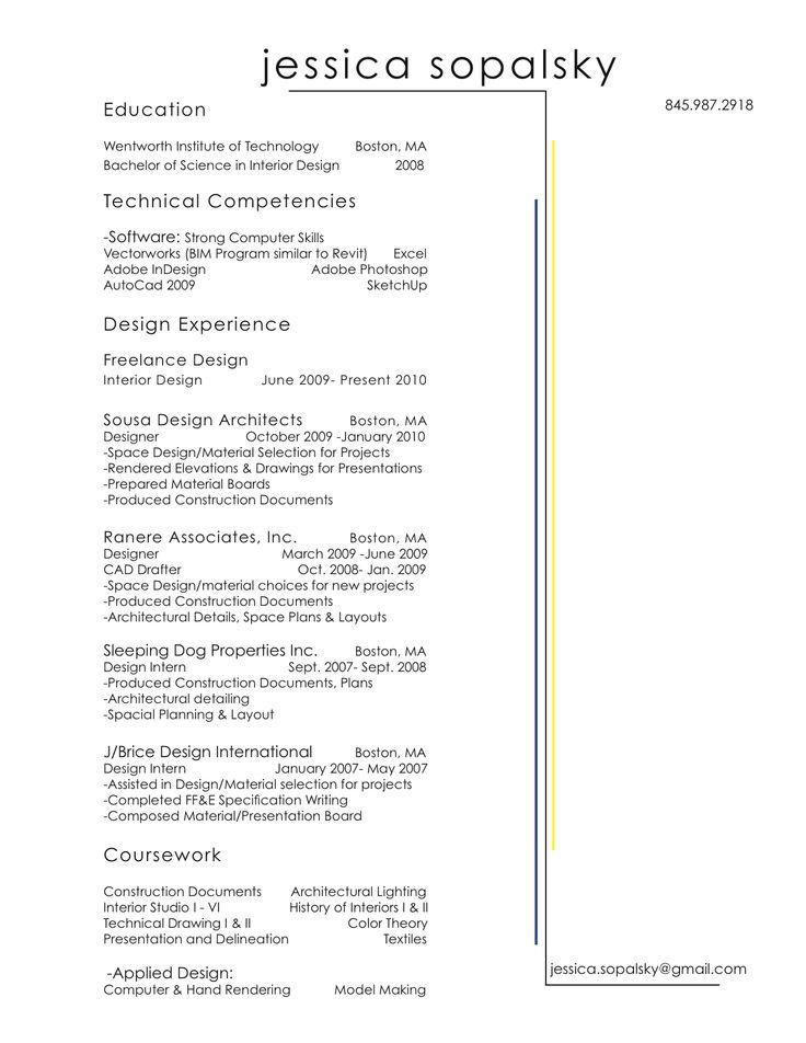 pinterest resume interior design resume and portfolio samples