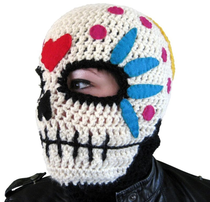 Sugar skull Mask free pattern (the grandsons would love