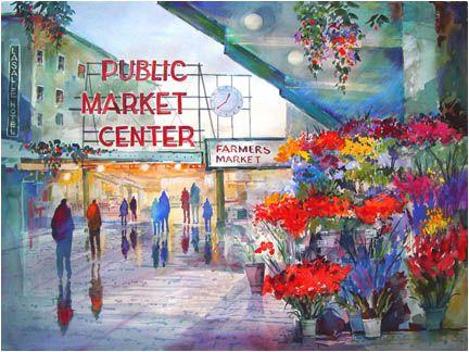 John Ebner Prints Market Flowers Love His Rain People