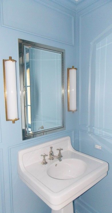 Gorgeous Bathroom Features Blue Paint On Walls Accented