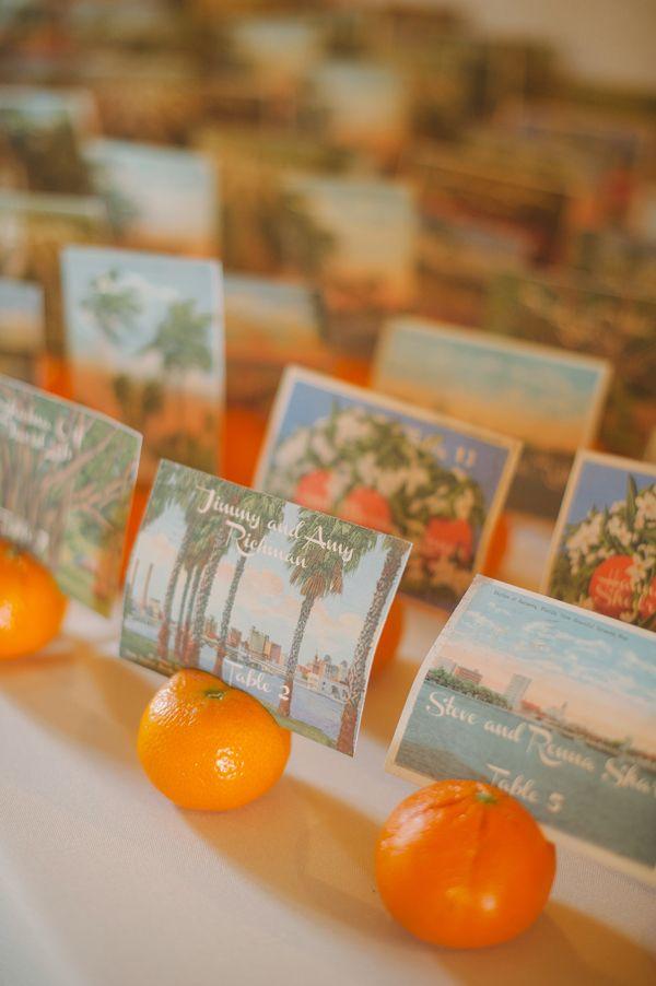 orange inspired escort cards with vintage postcards http://www.weddingchicks.com/2013/09/20/vintage-destination-wedding/