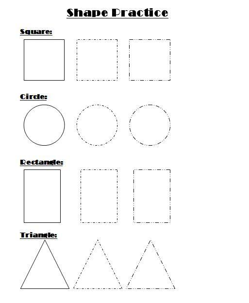 Shape Practice Worksheet For Kindergarten