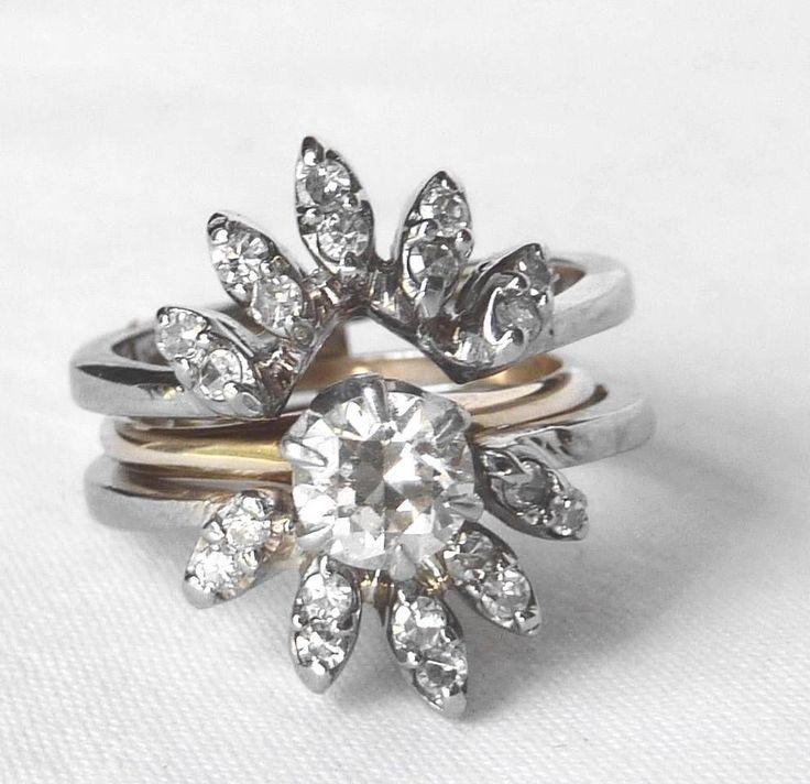 VINTAGE 14K WHT GOLD DIAMOND WEDDING BAND GUARD RING WRAP