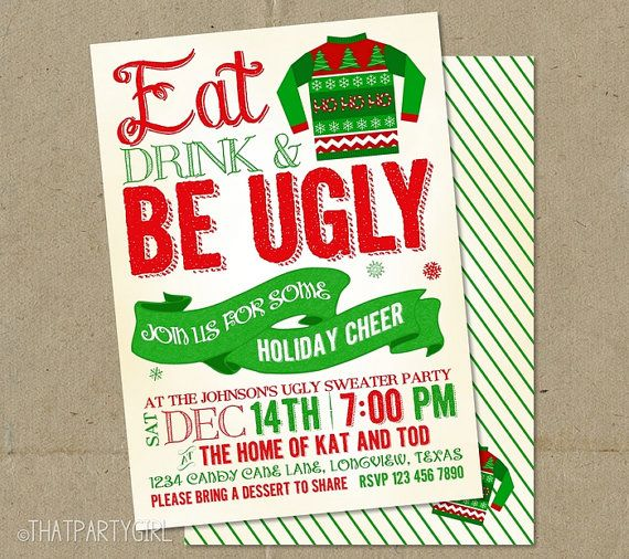 Ugly Sweater Invitations Christmas Party DIY by thatpartygirl