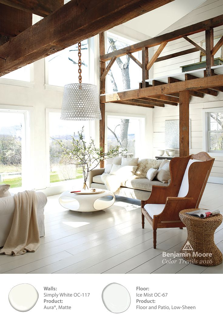 Benjamin Moore's Color of the Year 2016, 'Simply White,' allows for the delicate sunlight to flood this room and let the raw wood accents glow. The floor is done in our 'Ice Mist' to add a slight hue. #ColorTrends2016: