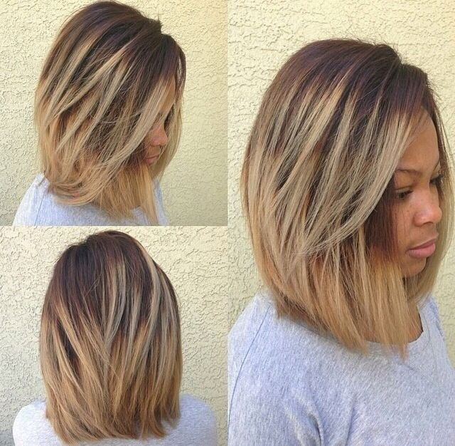 Ombre Long Bob Haircut for Black Women – Thick Hair Styles