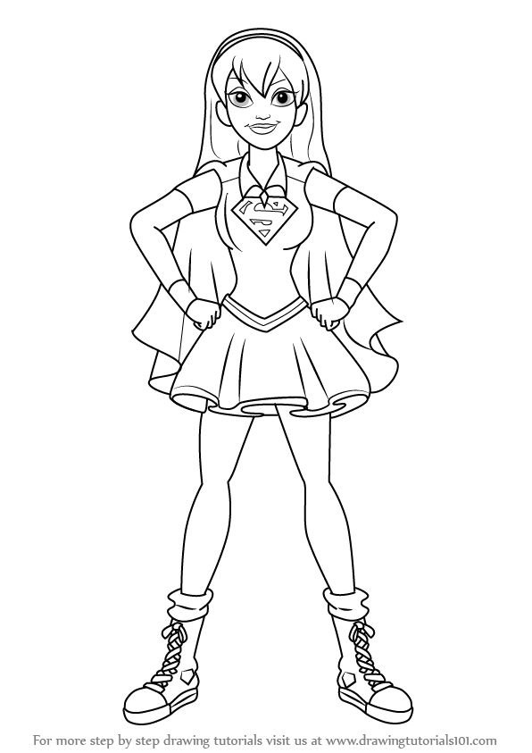 stepstep how to draw supergirl from dc super hero