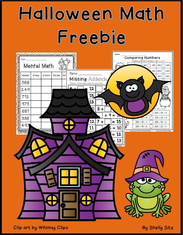 FREE Halloween math worksheets place value, mental math