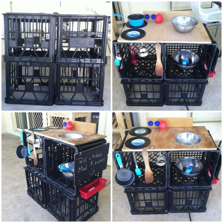 "Milk crate mud pie kitchen ("",) Outdoor (Mud) Kitchen"