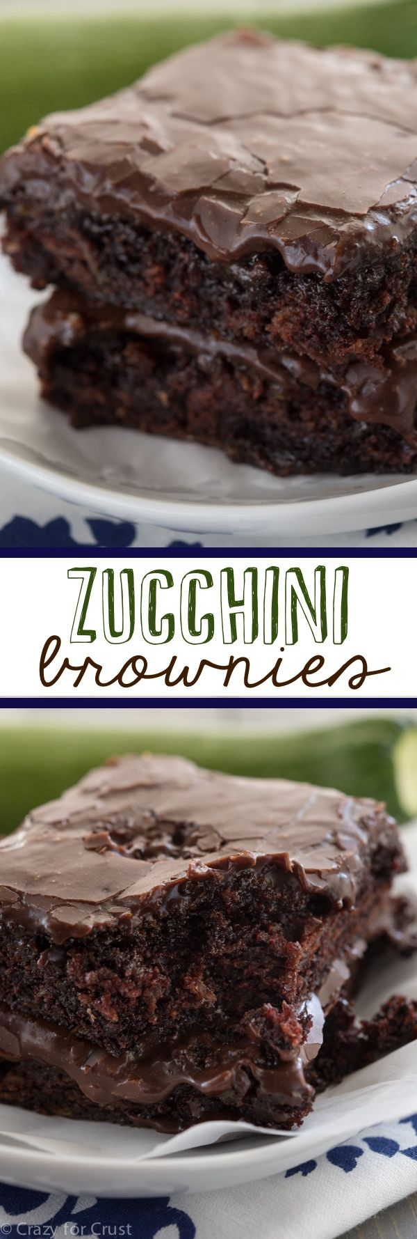 Zucchini Brownies – the easiest recipe for the most gooey, chocolaty, fudgy brownies full of zucchini! And NO ONE will guess!