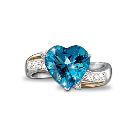 Heart Embrace Blue Topaz Amp Diamond Ring For Those Who