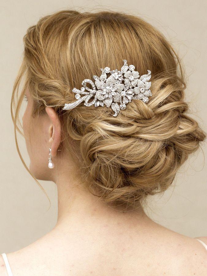 Robin Elegant Rhinestone Flower Bridal Hair Comb Asian