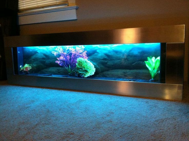 Panoramic Silver Stainless Steel 60x18 Wall Aquarium