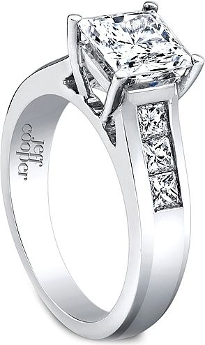 Jeff Cooper Wide Channel-Set Princess Cut Engagement Ring  : This modern and stylish engagement ring setting by Jeff Cooper