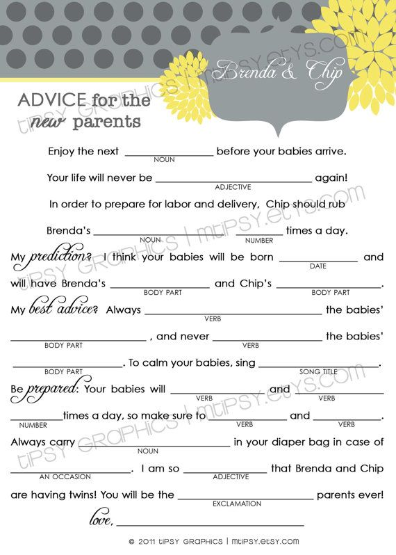 Damask Funny Advice Amp Well Wishes For The NEW PARENTS Mad Lib MadLib Adlib By Tipsy Graphics