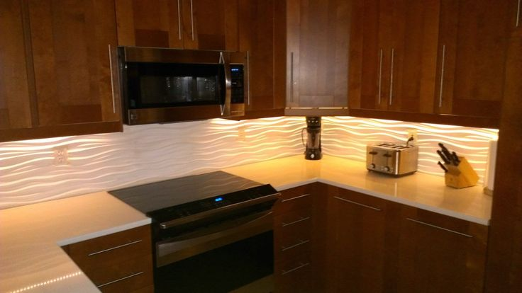 Our Kitchen With A Modular Tiles Dune Backsplash And LED