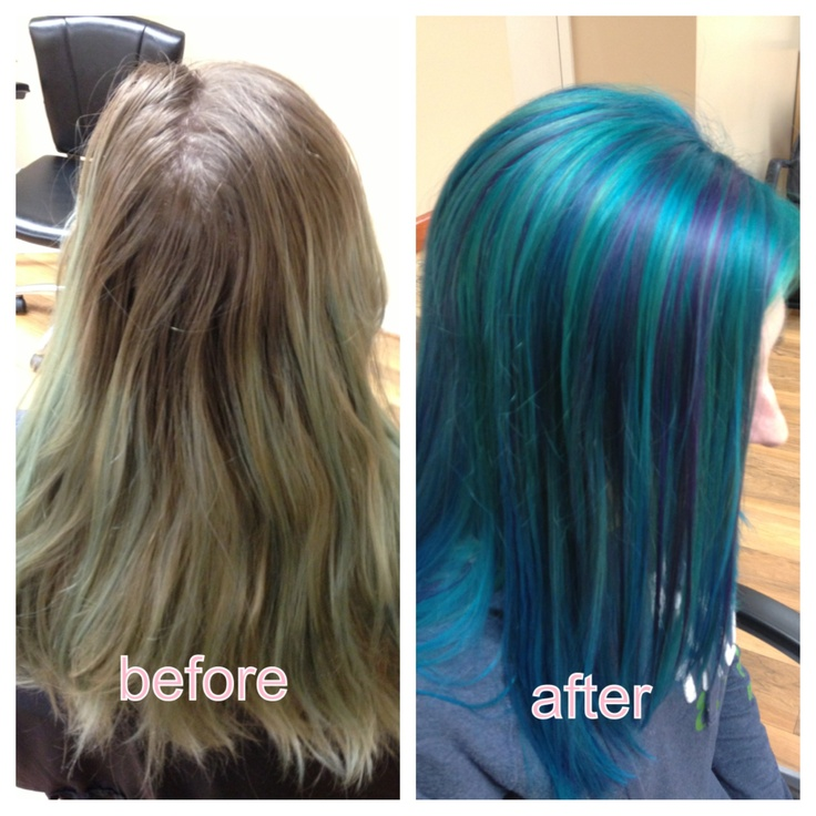 Turquoise Hair Before And After Purple Highlights