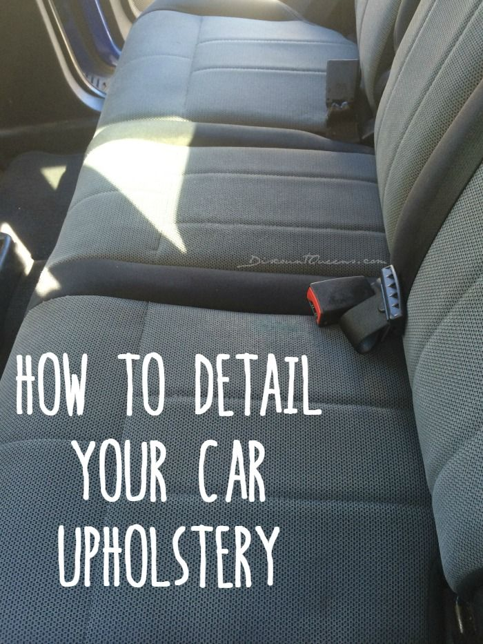 DIY Detail Your Cars Upholstery: equal parts blue dawn, baking soda, club soda in a spray bottle. Add eucalyptus essential oil for