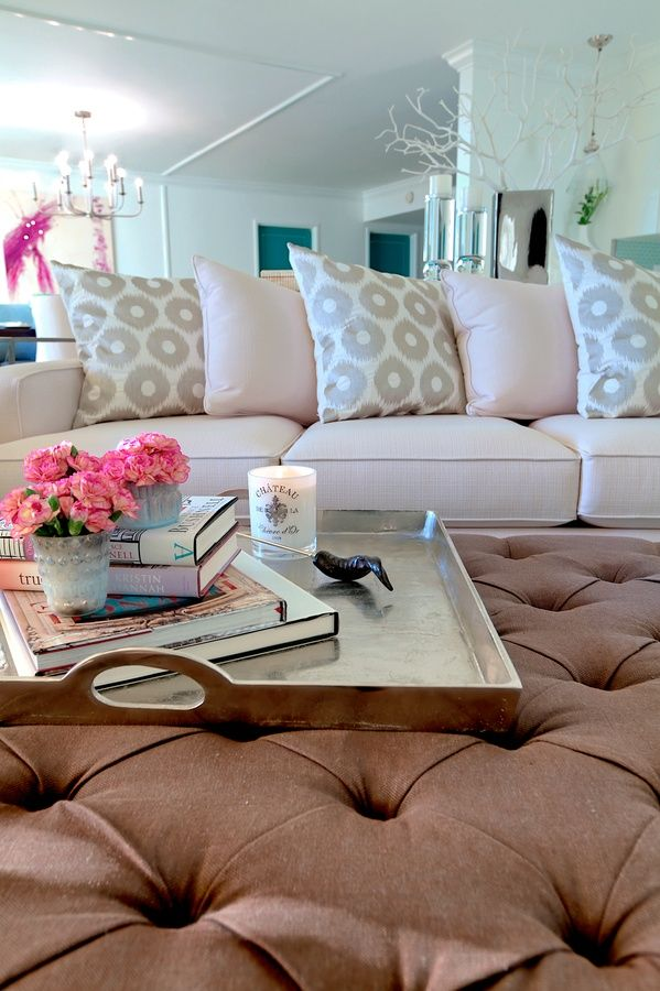 Tray On Ottoman In Living Room Home Sweet Home