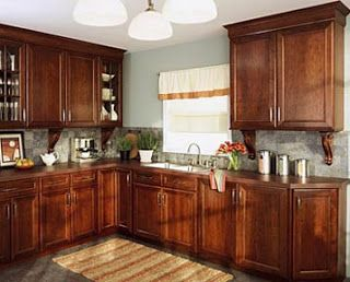 Cherry Kitchen Cabinets With Blue Grey Wall Our Home