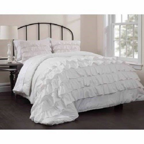 Ruffle Bedspread Comforter Set Queen Full Size White Chic