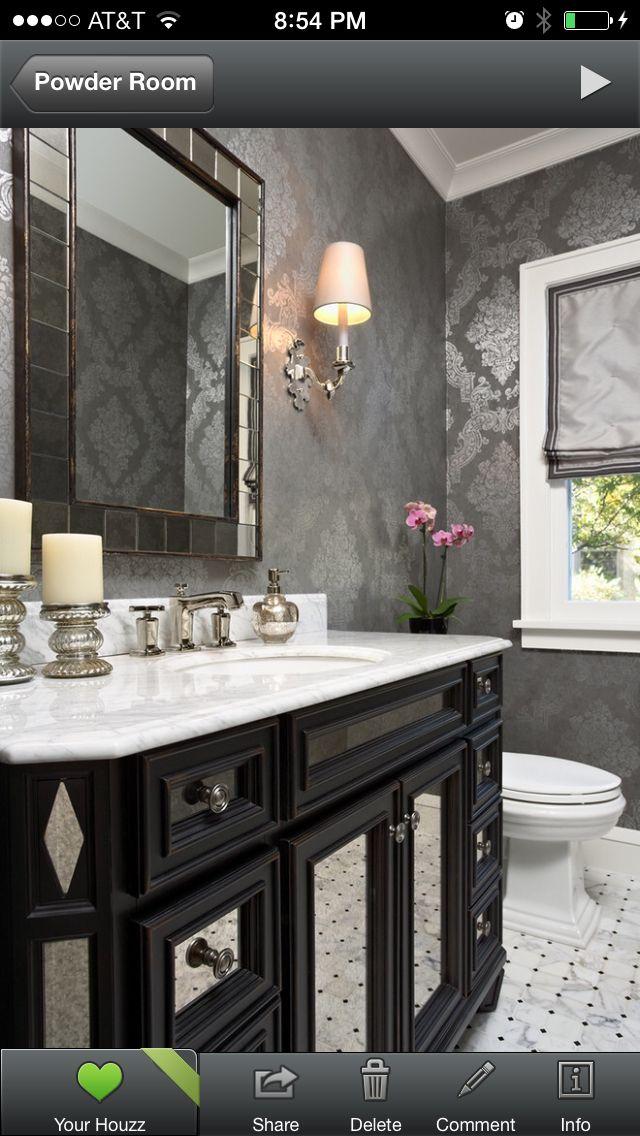 Powder Room Wallpaper Shiny Silver Gray Black White
