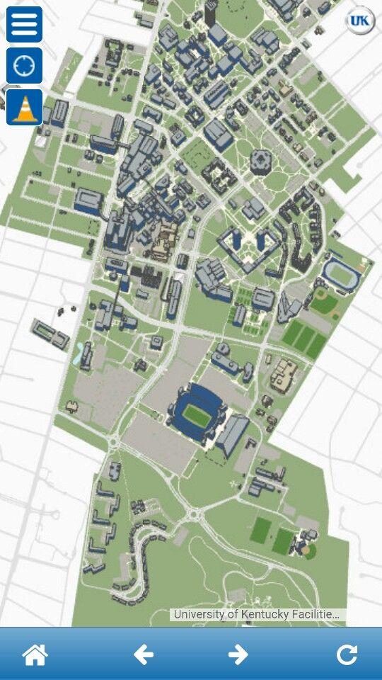 Screenshot of UK campus map from myuk app. Commuting 2