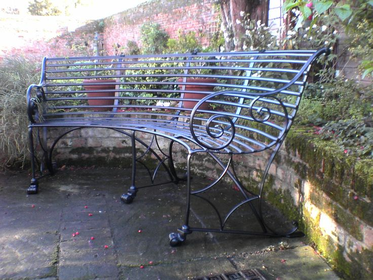 Curved Metal Outdoor Benches