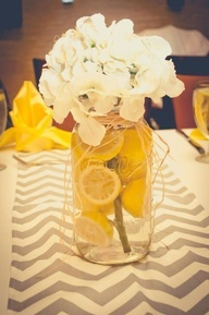 These were our wedding table center pieces. Simple and classic. Yellow and grey wedding…..these are perfect!!!! Even on mason