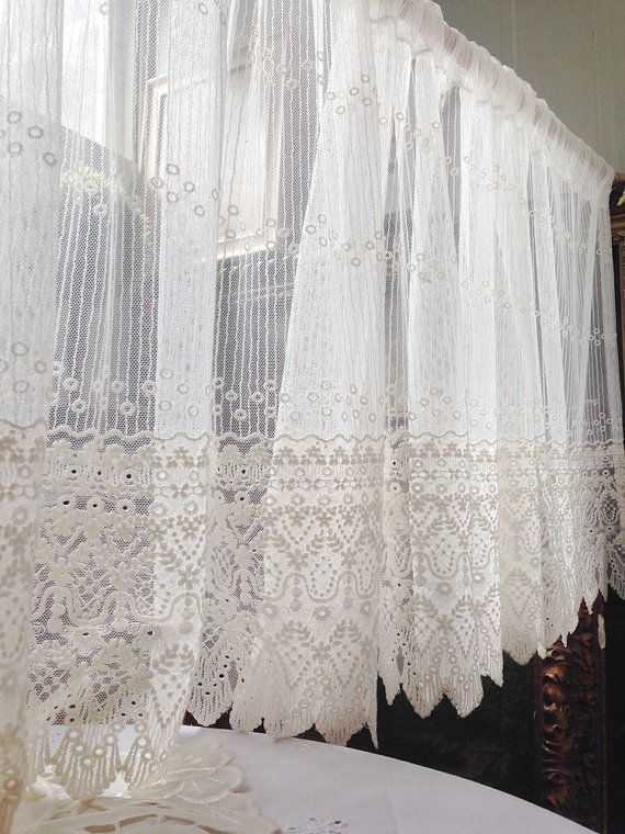 White Embroidery Lace Valance Cafe Curtain One Panel 59 Wide French Country Style Shabby