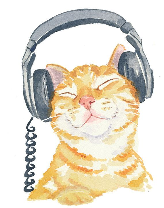 Orange Tabby Cat Watercolor PRINT Music Art Cat  WaterInMyPaint