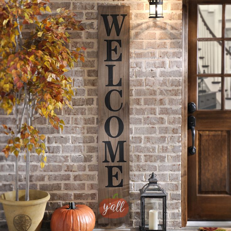 Welcome Y All Wood Plank Plaque Pumpkins Natural And