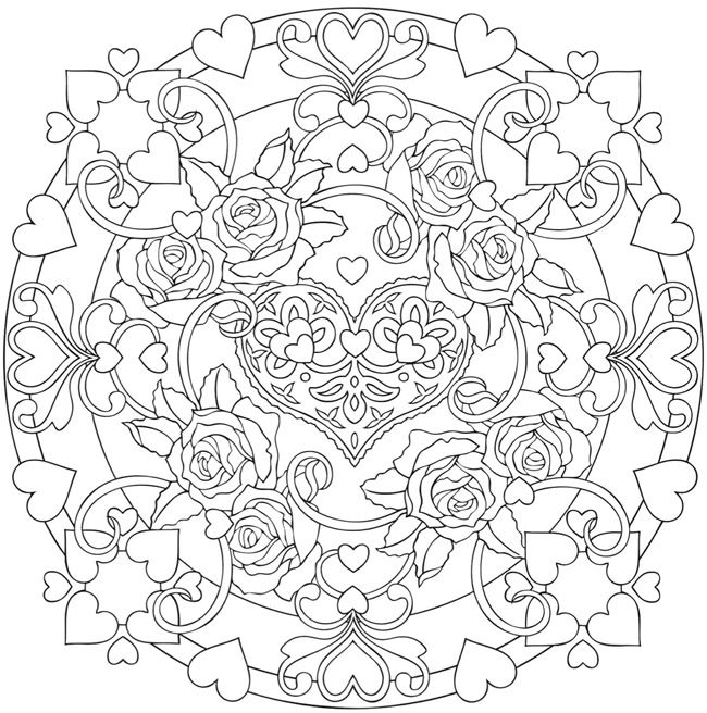 heart mandalas coloring book  colouring in  pinterest