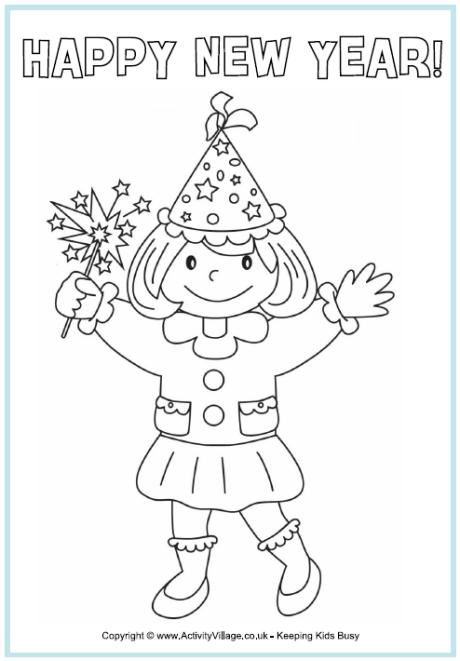 week one new year.happy new year colouring page girl