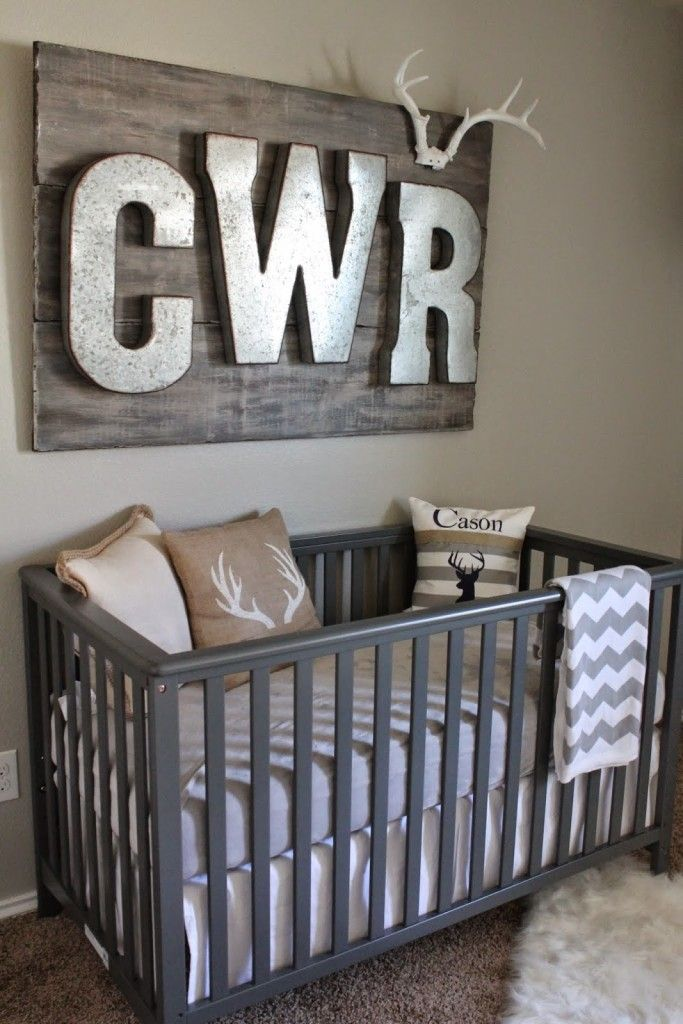 Hunting and Fishing Themed Nursery – we love the rustic look of the galvanized letters over the crib!